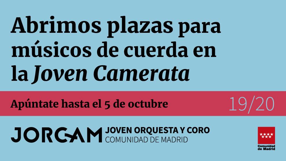 Banner grande que anuncia las pruebas de la Joven Camerata de la Comunidad de Madrid