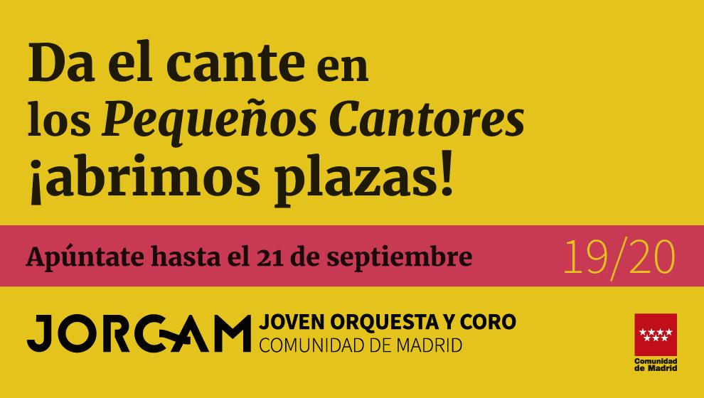 Banner grande que anuncia las pruebas de los Pequeños Cantores de la Comunidad de Madrid