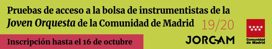 Banner horizontal para anunciar las pruebas de acceso a la bolsa de instrumentistas de la Joven Orquesta de la Comunidad de Madrid