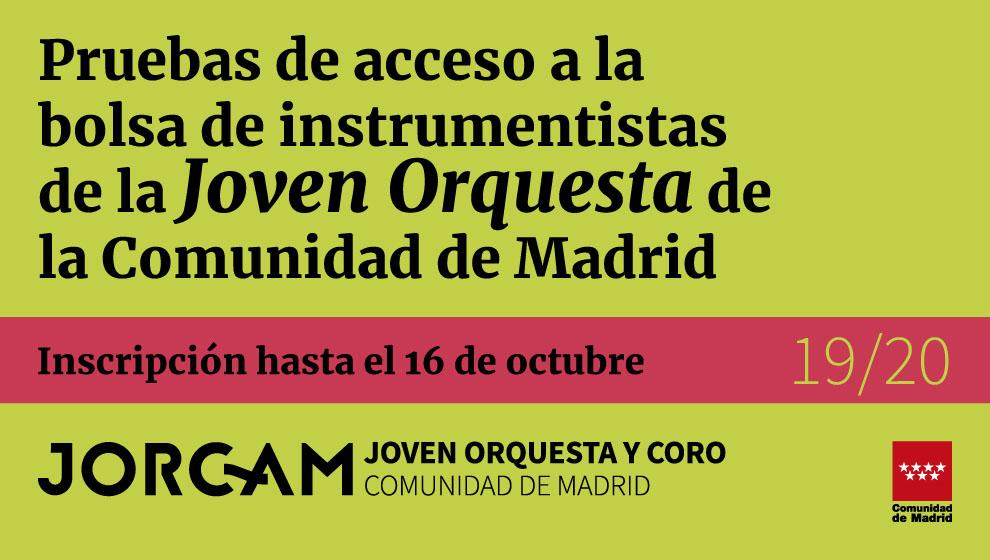 Banner web para anunciar las pruebas de acceso a la bolsa de instrumentistas de la Joven Orquesta de la Comunidad de Madrid