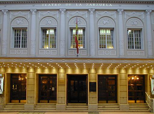 Fachada del Teatro de la Zarzuela. Sede como orquesta titular de la Orquesta de la Comunidad de Madrid